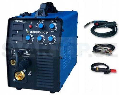 Invertorová svářečka DUALMIG 210 S4 MIG/MMA/TIG + hořák + kabely, 200A/60%